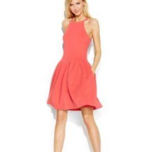 CALVIN KLEIN Coral Pleated Halter Dress